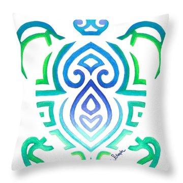 Tribal Turtle Throw Pillow