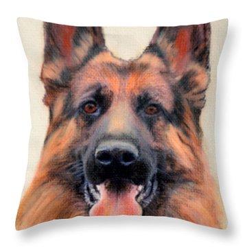 Tribute To The German Shepherd Throw Pillow by Linda Diane Taylor