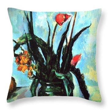 Tulips In A Vase Throw Pillow