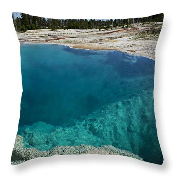 Turquoise Hot Springs Yellowstone Throw Pillow by Garry Gay