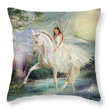 Throw Pillow featuring the digital art  Unicorn Magic by Trudi Simmonds