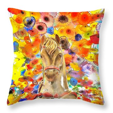 Vegas Horse Flower Power Throw Pillow