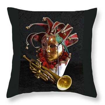 Throw Pillow featuring the photograph  Venitian Joker by Elf Evans