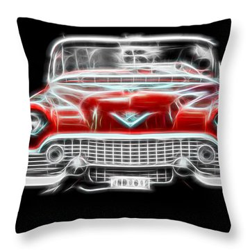 Vintage Car Throw Pillow featuring the photograph  Vintage Red Cadillac by Aaron Berg