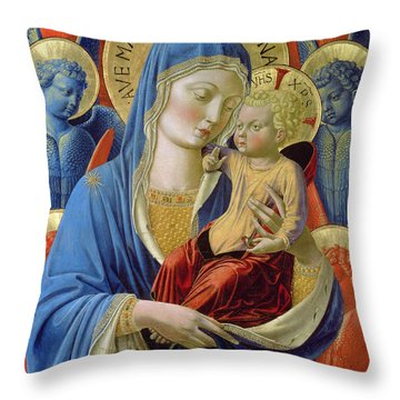 Virgin And Child With Angels Throw Pillow by Benozzo di Lese di Sandro Gozzoli