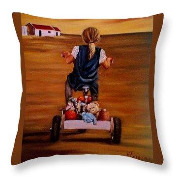 Visiting Granny Throw Pillow by Natalia Tejera