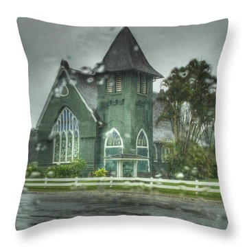 Waioli Huiia Church Kauai  Throw Pillow