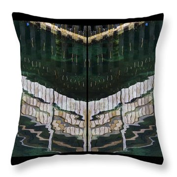 Throw Pillow featuring the photograph  Water Reflection Twofold by Heiko Koehrer-Wagner