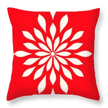Throw Pillow featuring the digital art  White Star Flower by Mindy Bench