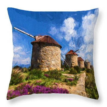 Windmills Of Portugal Throw Pillow