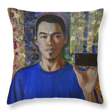 Throw Pillow featuring the painting  Winston Tsung Han Chung by Ron Richard Baviello