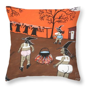 Witches Wash Day Throw Pillow