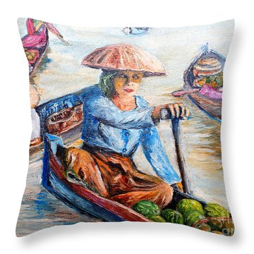 Women On Jukung Throw Pillow