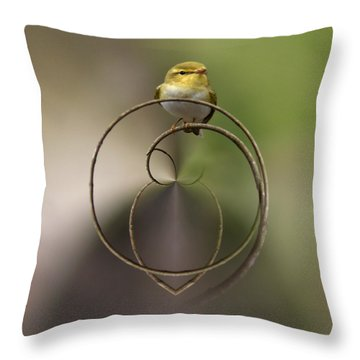 Wood Warbler Throw Pillow by Jouko Lehto