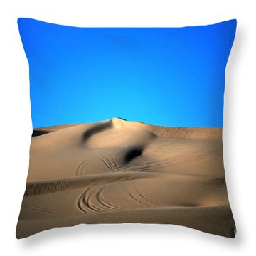 Yuma Dunes Number One Bright Blue And Tan Throw Pillow by Heather Kirk