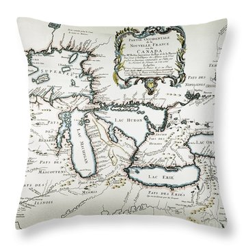 Great Lakes Map, 1755 Throw Pillow by Granger