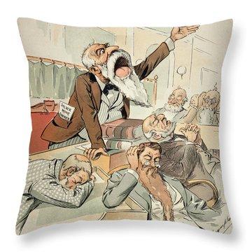 Senate Cartoon,free Silver Throw Pillow by Granger