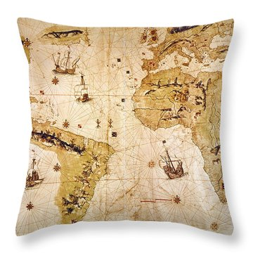 Vespucci's World Map, 1526 Throw Pillow by Granger