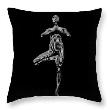 0027-dja Yoga Balance Black White Zebra Stripe Photograph By Chris Maher Throw Pillow