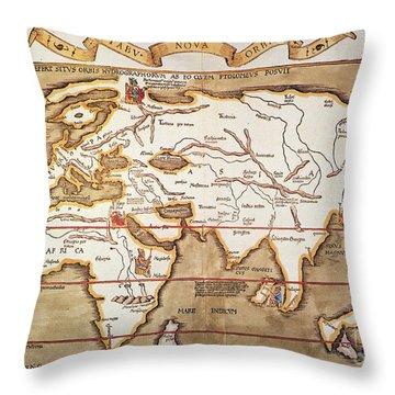 Waldseemuller: World Map Throw Pillow by Granger