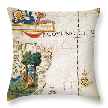 Brazil: Map And Native Indians Throw Pillow by Granger