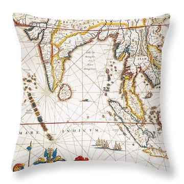South Asia Map, 1662 Throw Pillow by Granger