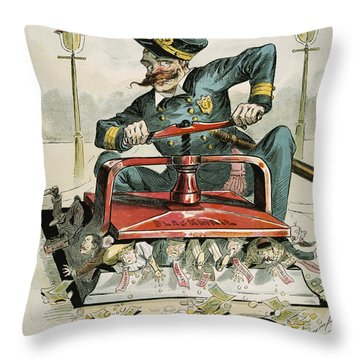 Police Corruption Cartoon Throw Pillow by Granger