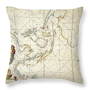 Map: East Indies, 1670 Throw Pillow by Granger
