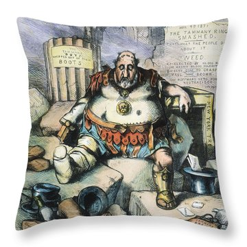 Nast: Tweed's Downfall Throw Pillow by Granger