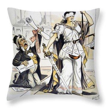 Justice Cartoon Throw Pillow by Granger