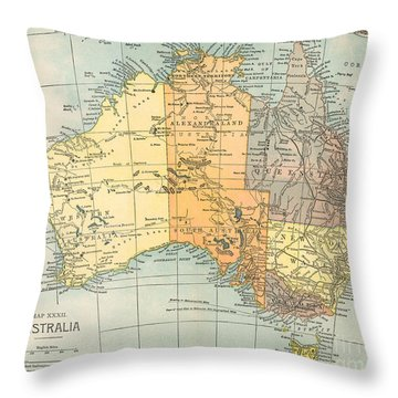 Map: Australia, C1890 Throw Pillow by Granger