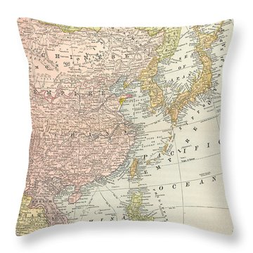 Map: East Asia, 1907 Throw Pillow by Granger