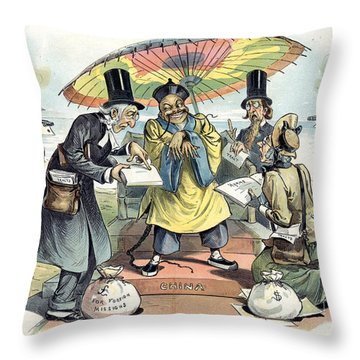 Missionary Cartoon, 1895 Throw Pillow by Granger