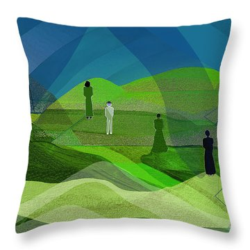 009  Human Figures In Landscape 2017 Throw Pillow