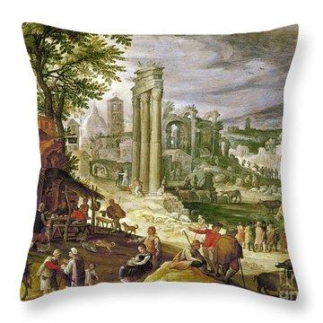 Roman Forum, 16th Century Throw Pillow by Granger