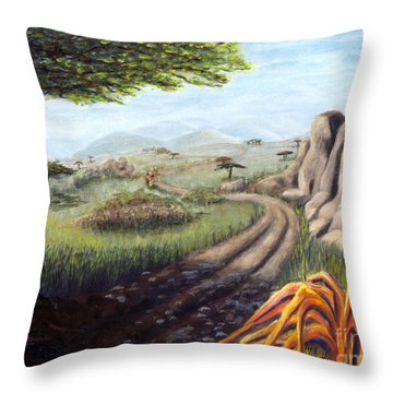 Throw Pillow featuring the painting 01304 Road Home--kenya by AnneKarin Glass