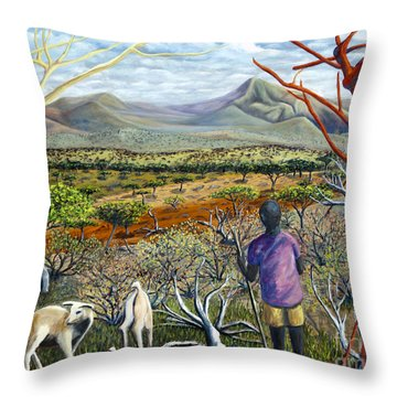 Throw Pillow featuring the painting 01306 Masai Goatherd by AnneKarin Glass