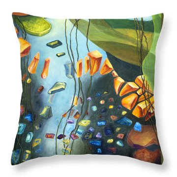 Throw Pillow featuring the painting 01312 Sinking Treasure by AnneKarin Glass