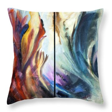 01321 Fire And Waves Throw Pillow by AnneKarin Glass