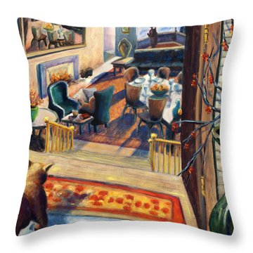 01348 Awaiting Guests Throw Pillow by AnneKarin Glass