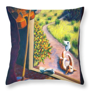 01349 The Cat And The Fiddle Throw Pillow by AnneKarin Glass