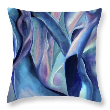 01354 Blue Dream Throw Pillow by AnneKarin Glass