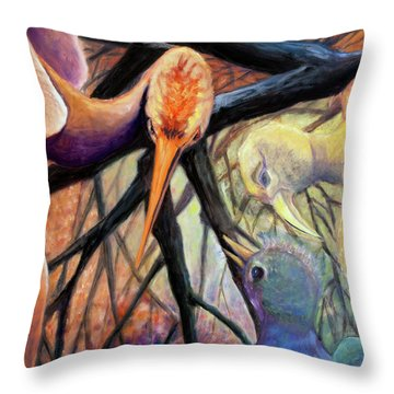 01357 Jungle Talk Throw Pillow by AnneKarin Glass