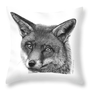 044 Vixie The Fox Throw Pillow by Abbey Noelle
