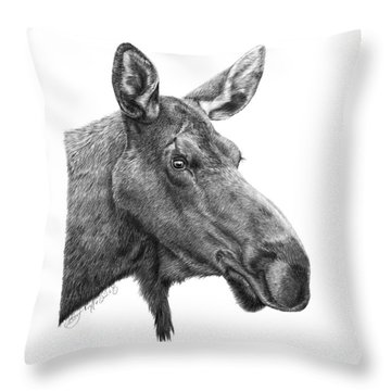 048 - Shelly The Moose Throw Pillow by Abbey Noelle