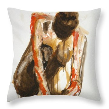 Throw Pillow featuring the painting 04863 Deep Thinker by AnneKarin Glass