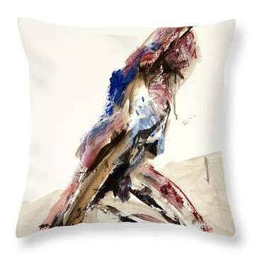 Throw Pillow featuring the painting 04919 Thrust by AnneKarin Glass