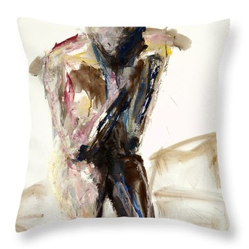 Throw Pillow featuring the painting 04921 Determining by AnneKarin Glass