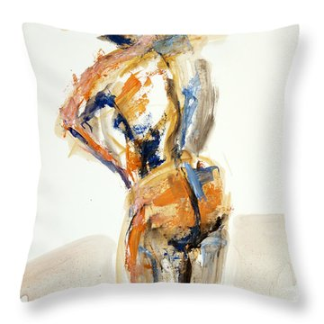 Throw Pillow featuring the painting 04929 Thinking by AnneKarin Glass