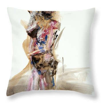 Throw Pillow featuring the painting 04931 It's Me by AnneKarin Glass